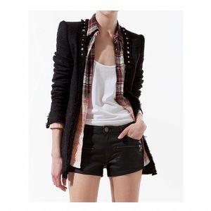 Zara Frayed Tweed Blazer With Studs
